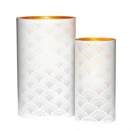 set-of-2-white-and-copper-lantern-tealight-pillar-candle-holder-with-pattern-by-hubsch