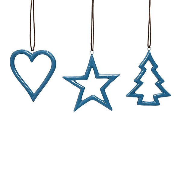 738 blue ceramics star heart christmas tree for
