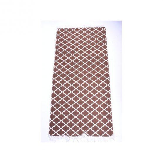 761-Brown-Flatweave-Cotton-Moroccan-Pattern-Rug-65-x-135-cm