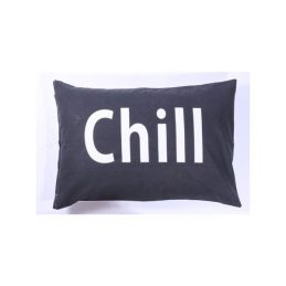 769-Large-Black-Cotton-Danish-Design-Cushion-Cover-with-'Chill'-Wording-40-x-60-cm