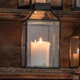 Glass & Metal Black Hanging Lantern Norr / Pillar Candle Holder by Ib Laursen