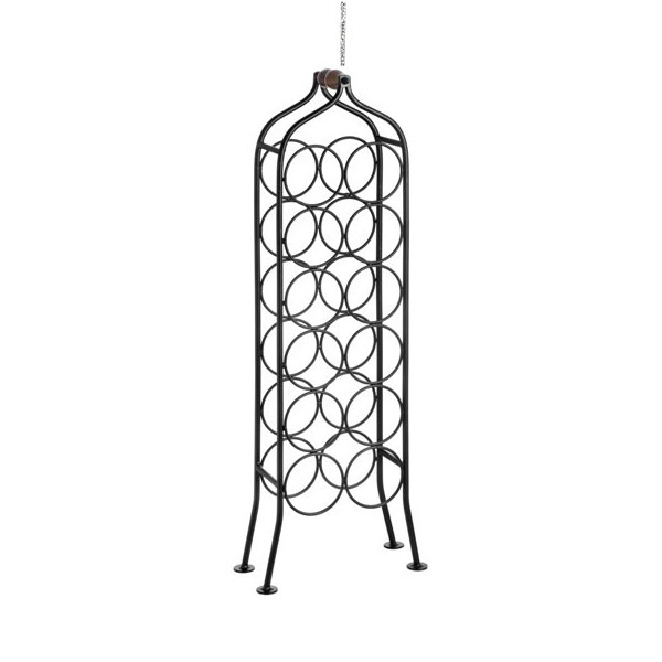 12 bottle wrought iron standing black wine rack holder with handle by hill interiors - Wine racks wrought iron floor standing ...