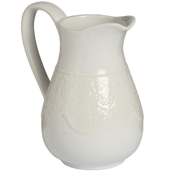White Ceramic Lace Pattern Detail Traditional Jug Vase 215 Cm By