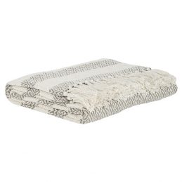 800-100-%-Cotton-Sofa-Bed-Beige-Cream-Stripes-Throw-Blanket-by-Ib-Laursen