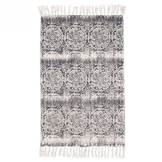 819-Flatweave-Cotton-Rug-with-Dark-Grey-Rosette-Pattern-by-Ib-Laursen-55×85-cm