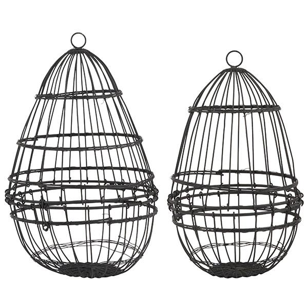 Small Egg Metal Wire Hanging Basket Holder Storage Display Black By Ib Laursen