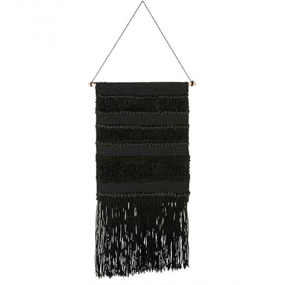 843-Black-Woven-Patterned-Hanging-Wall-Decor-with-Long-Fringes-by-Ib-Laursen