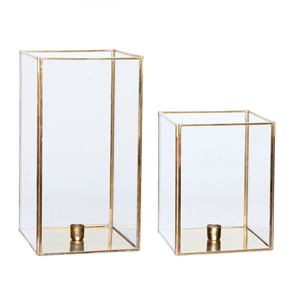 Relatively Set of 2 Square Brass & Glass Hurricane Candle Holder by Hubsch MP46