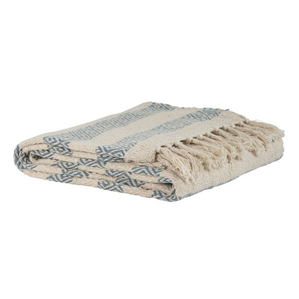 Cotton Sofa Bed Cream Blue Stripes Pattern Throw Blanket by Ib Laursen