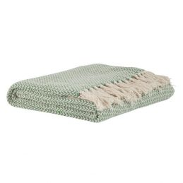874-100-%-Cotton-Sofa-Bed-Green-Cream-Window-Pattern-Throw-Blanket-by-Ib-Laursen