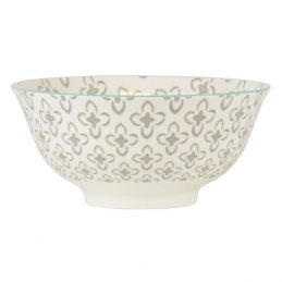 877-Medium-White-Bowl-Anna-with-Grey-patter-and-Mint-Rim-by-Ib-Laursen