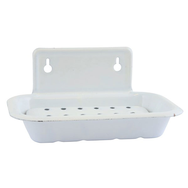 879-White-Enamel-Wall-Hanging-2-Parts-Soap-Dish-by-Ib-Laursen