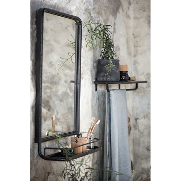 880 Black Wall Hanging Mirror With Mini Shelf