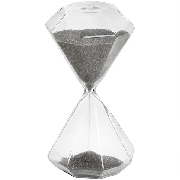 transparent with grey sand hexagonal glass timer hourglass sand timer