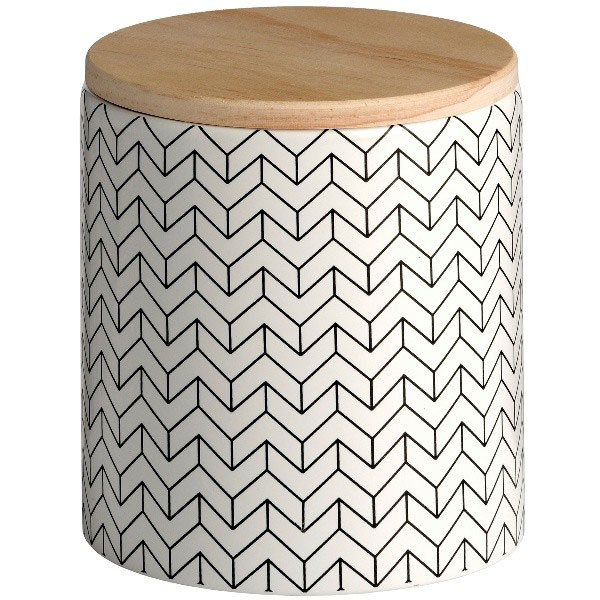 890-Black-&-White-Ceramic-Patterned-Storage-Jar-With-Wooden-Lid-by-Hill-Interiors-13.2-cm