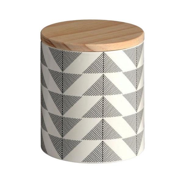 891 Grey U0026 White Ceramic Geometric Storage Jar