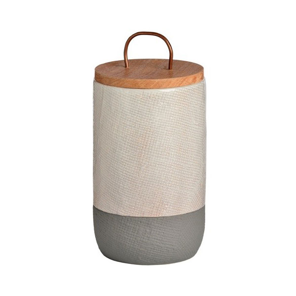 White Amp Grey Ceramic Storage Jar With Wooden Lid And