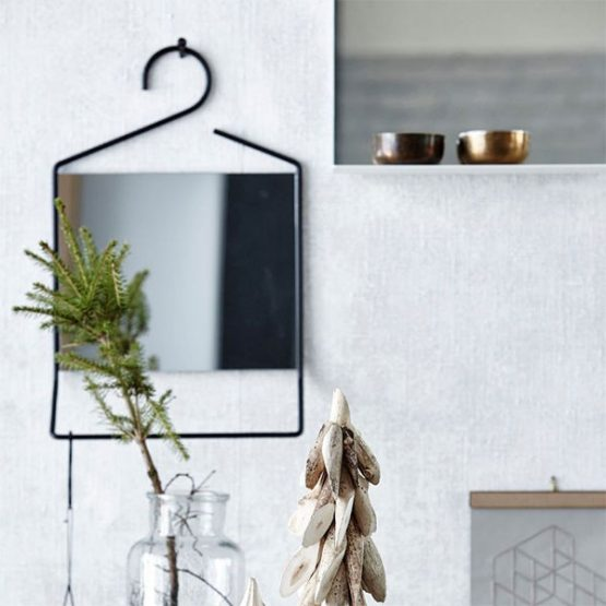 900 Coat Hanger Shaped Black Wall Hanging Mirror with Mini Shelf by House Doctor 50 cm