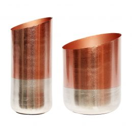 Modern Vase Copper and Silver Set of 2 Danish Design by Hubsch