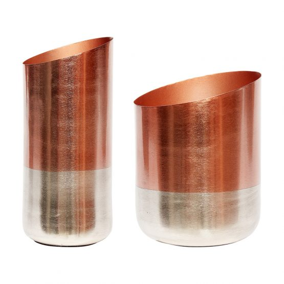 Modern Set Of 2 Copper And Silver Vase Danish Design By Hubsch