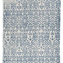 White & Blue Flatweave Cotton Rug by Ib Laursen 60x180 cm