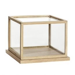 small Glass Display Oak Cover Dome With Wooden Base Frame Danish Design
