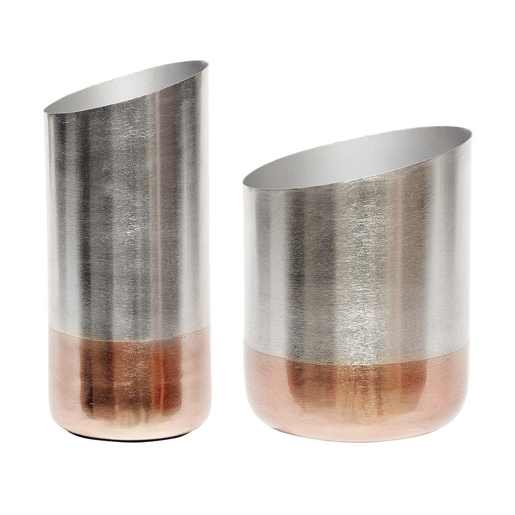 Modern Set Of 2 Silver And Copper Vase Danish Design By Hubsch