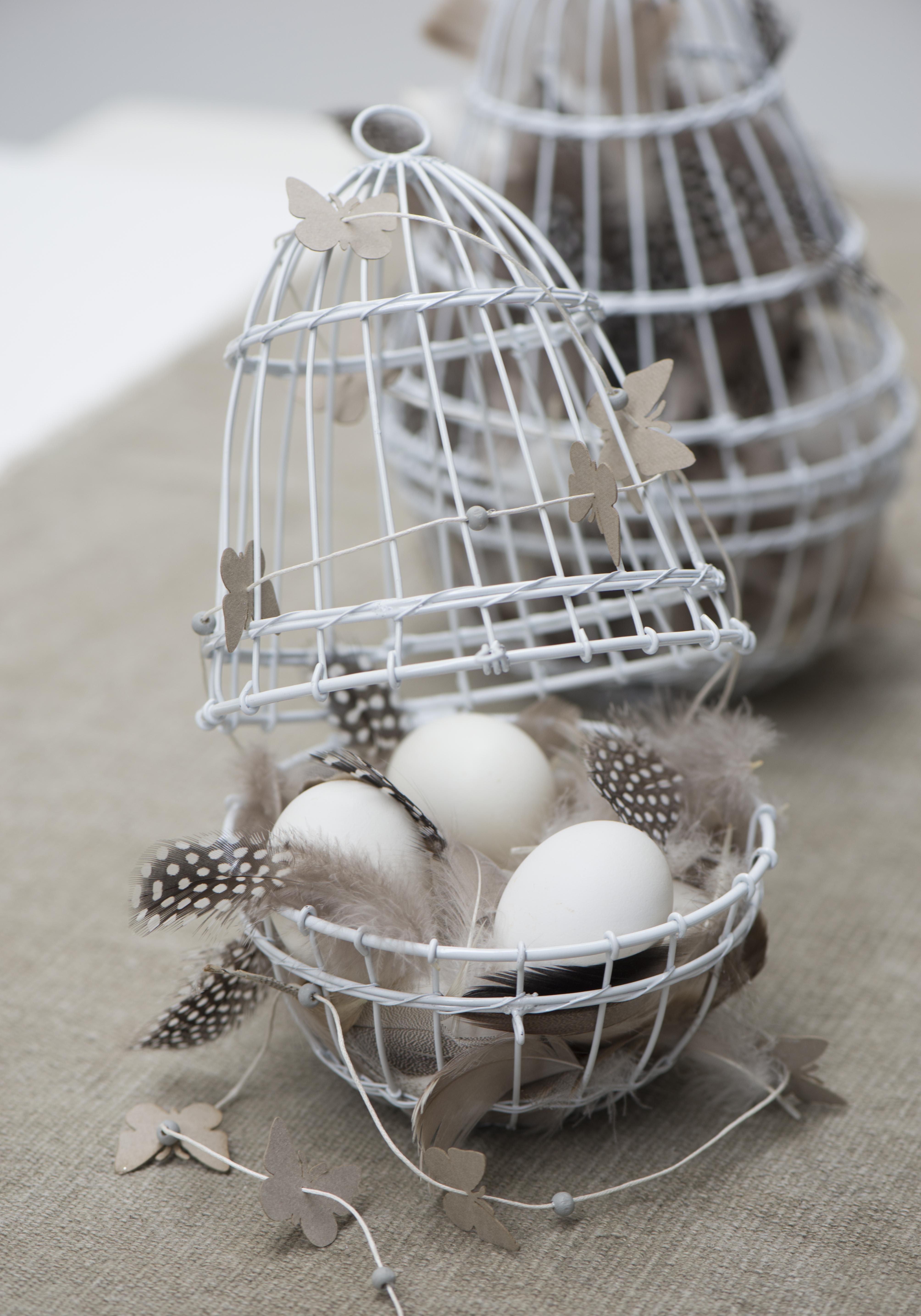 White Metal Wire Egg Hanging Basket Holder Set of 2 by Ib Laursen