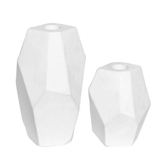 Contemporary Concrete Candlestick White set of 2 Danish Design by Hubsch