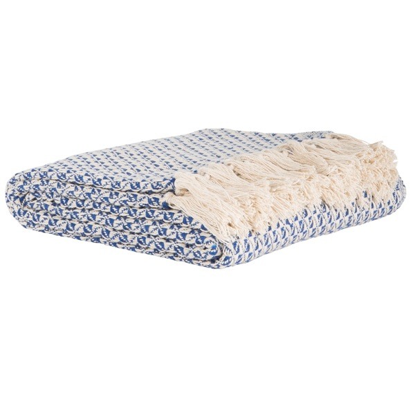 40 % Cotton Sofa Bed White Blue Patterned Throw Blanket By Ib Laursen Unique Lightweight Cotton Throw Blanket