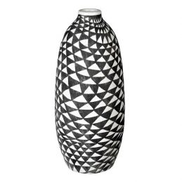 ceramic-vase-biba-dark-grey-white-with-triangular-pattern-tall-39-cm