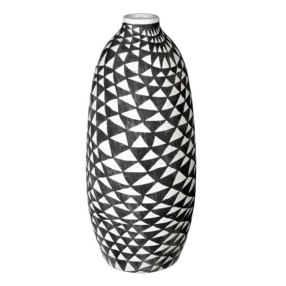 Ceramic Vase Biba Dark Grey White With Triangular Pattern Tall 39 Cm
