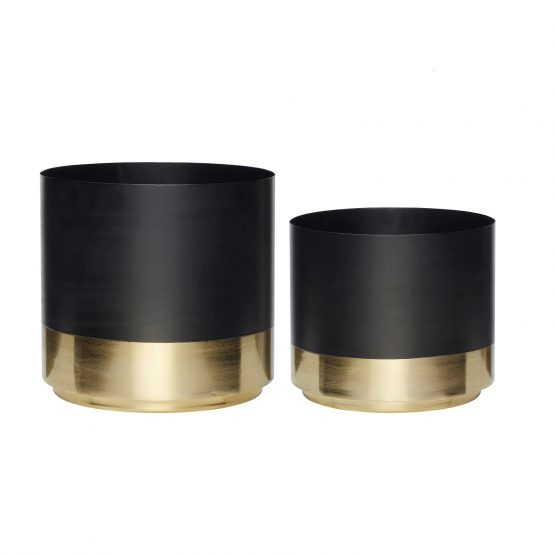 Modern Pot Brass Base Black Set of 2 Danish Design by Hubsch