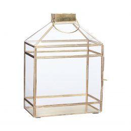 Brass / Glass Lantern Tealight Pillar Candle Holder Danish Design By Hubsch