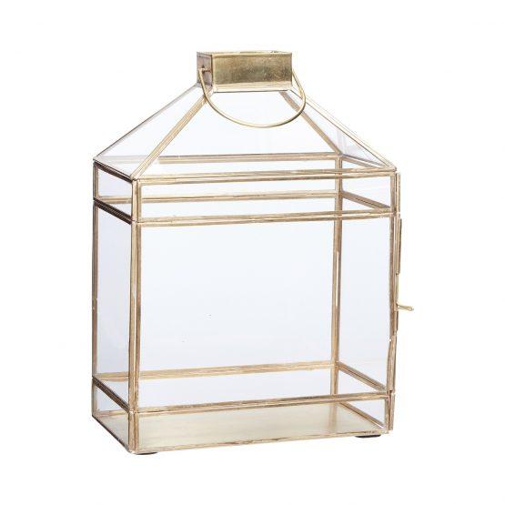Brass / Glass Lantern Tealight Pillar Candle Holder Danish Design By Hubsch