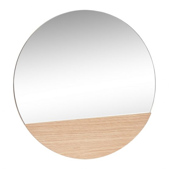 Wall Round Hanging Mirror w/ Oak 50 cm Danish Design by Hubsch