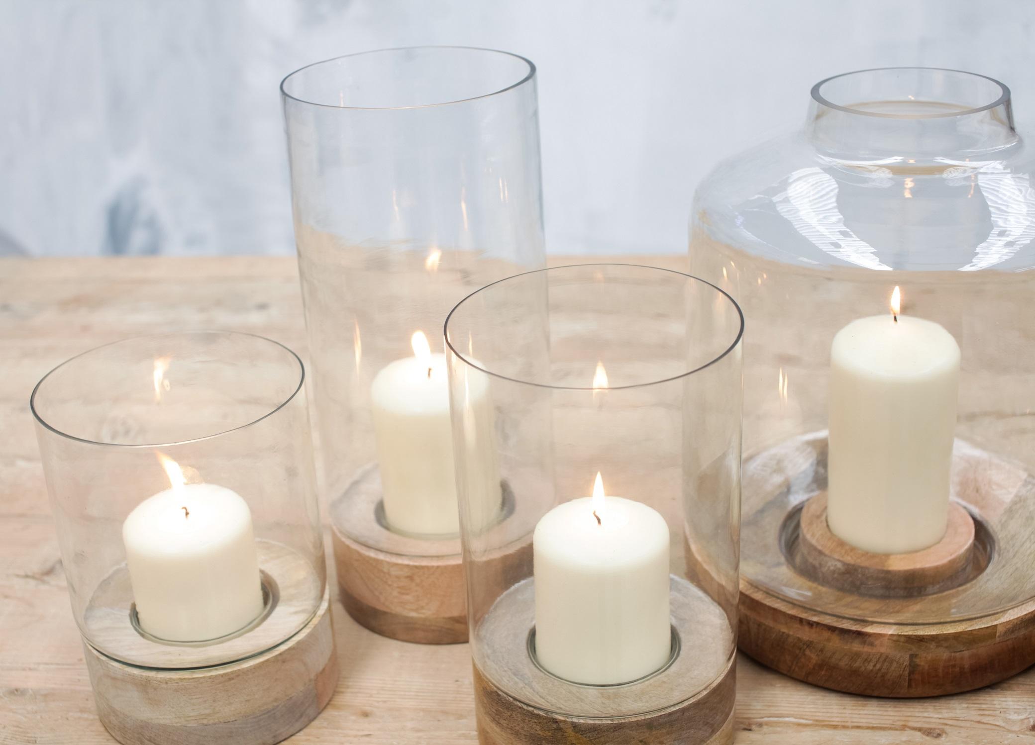 IDHA Straight Hurricane Lantern Mango Wood / Glass Candle ...