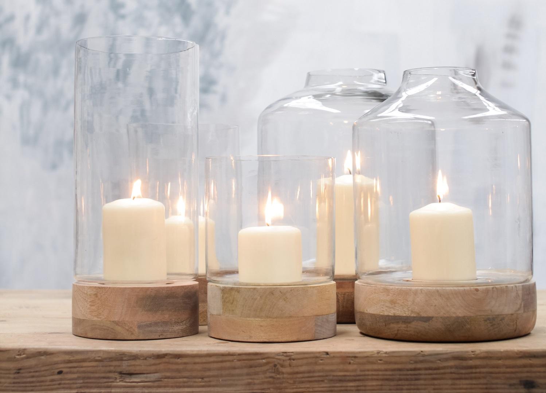 Idha Small Straight Hurricane Lantern Mango Wood Glass Tealight Pillar Candle Holder By Nkuku