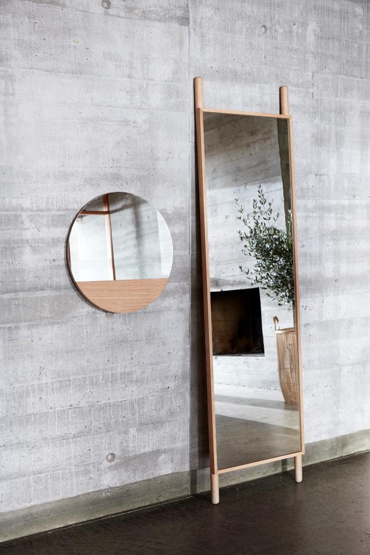 Wall round hanging mirror w oak 50 cm danish design by hubsch 50s home decor uk