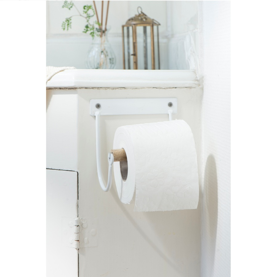 Industrial White Toilet Paper Holder With Wooden Roll By