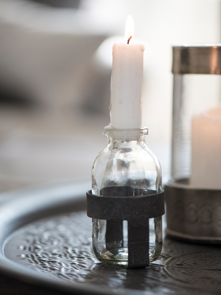 Glass Bottle Candle Holder fshort Candle with Black Metal