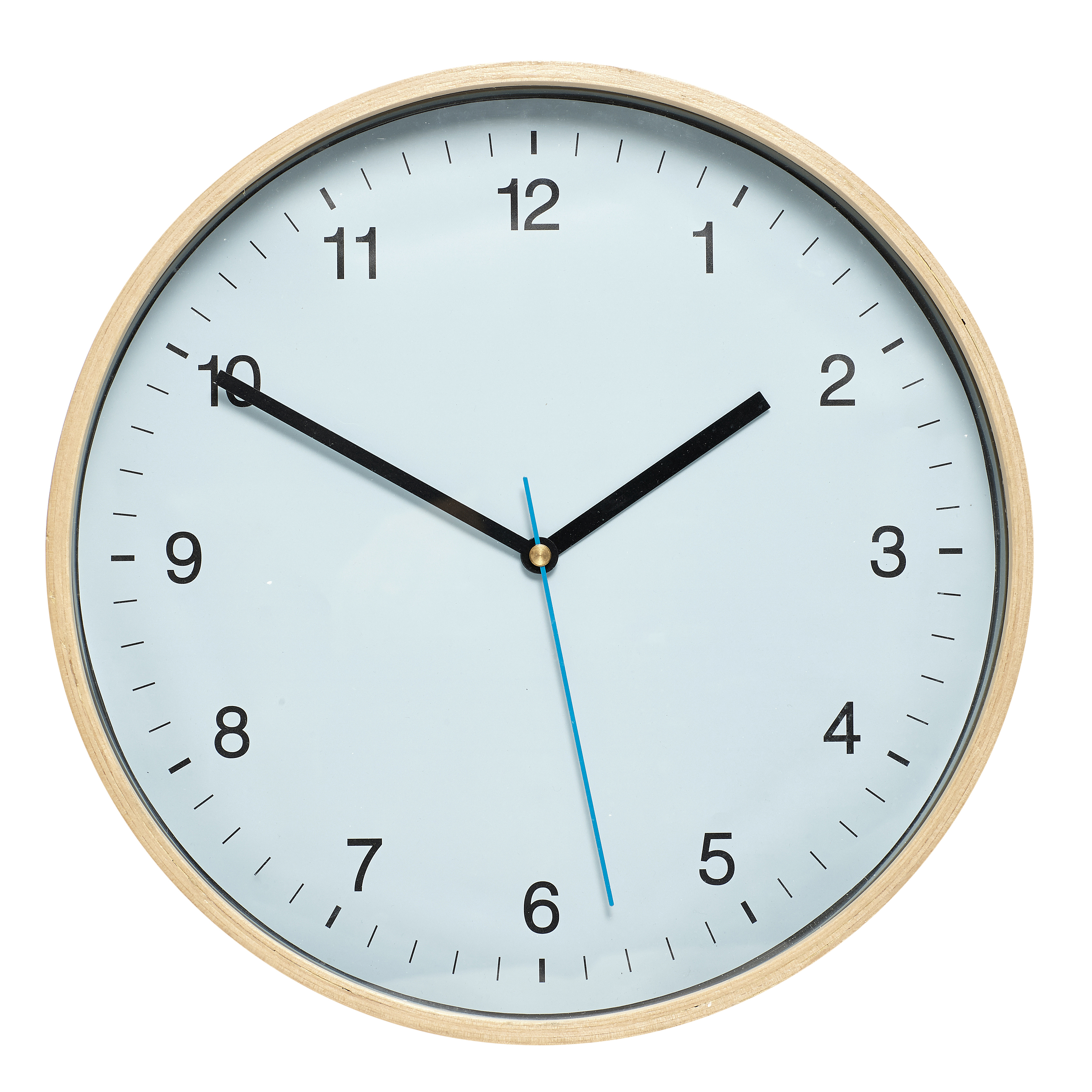 Blue Round Wall Clock with Wooden Frame by Parlane