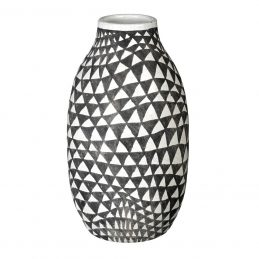 ceramic-vase-biba-dark-grey-white-with-triangular-pattern-tall-30-cm