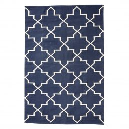 large-cotton-woven-blue-rug-with-geometric-white-pattern-120x180-cm-by-hubsch