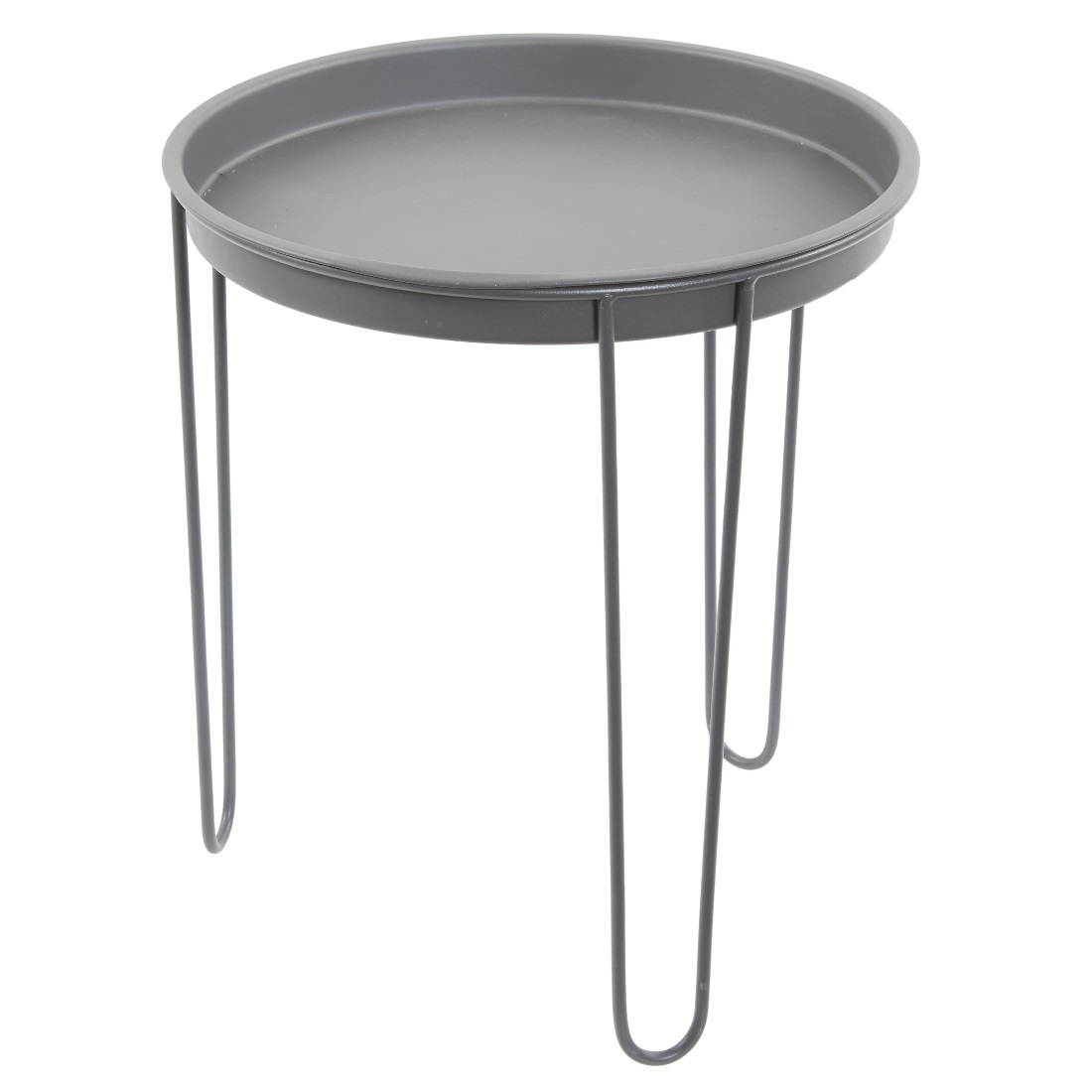 Large Grey Metal Round Tray Side Table By Tobs 39 X 45 Cm
