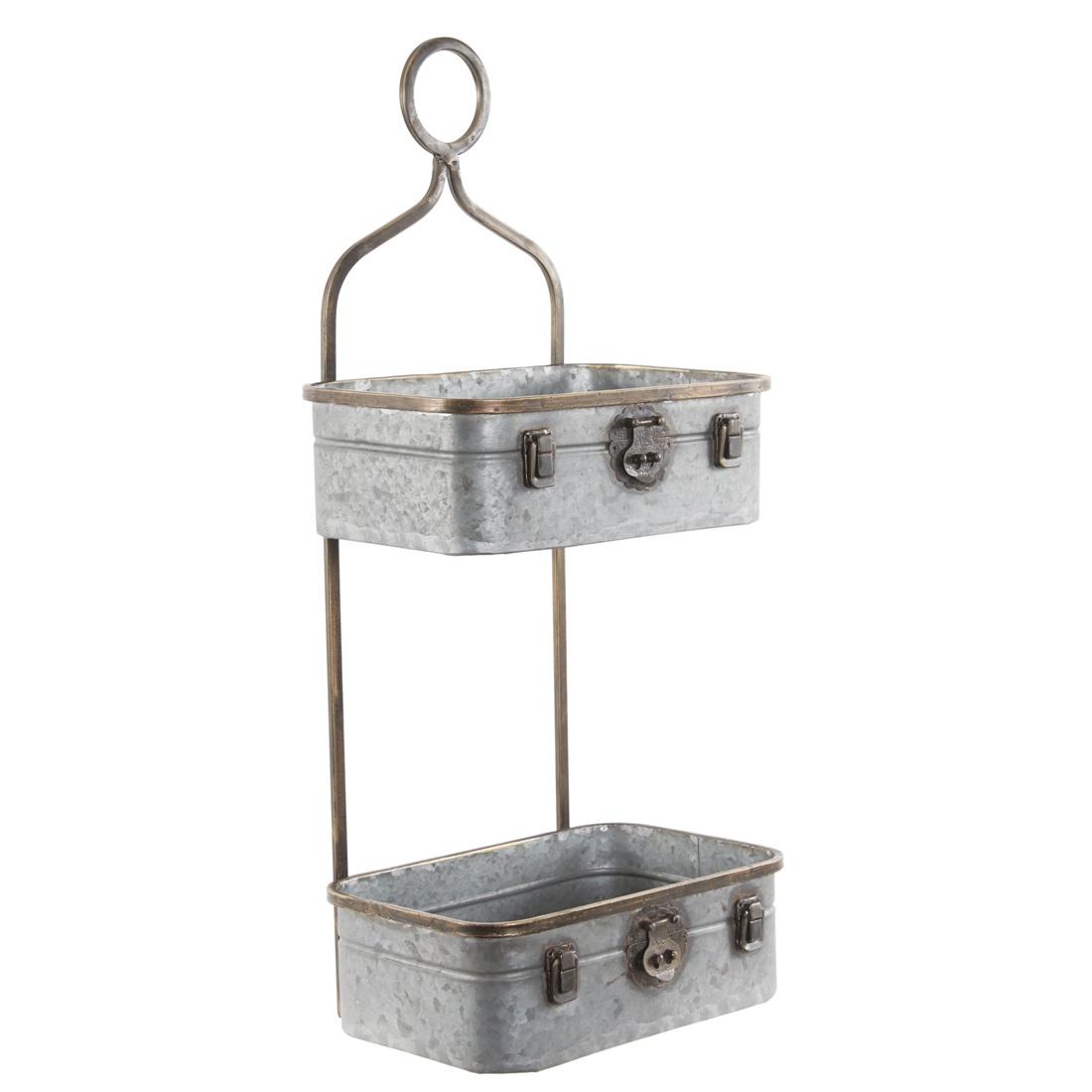 grey metal wall mounted 2 tier hanging suitcase storage. Black Bedroom Furniture Sets. Home Design Ideas