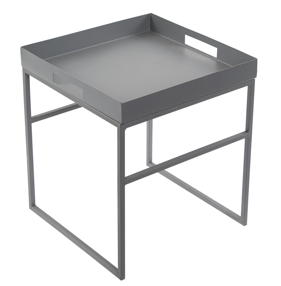 Medium Grey Metal Square Tray Side Table By Tobs