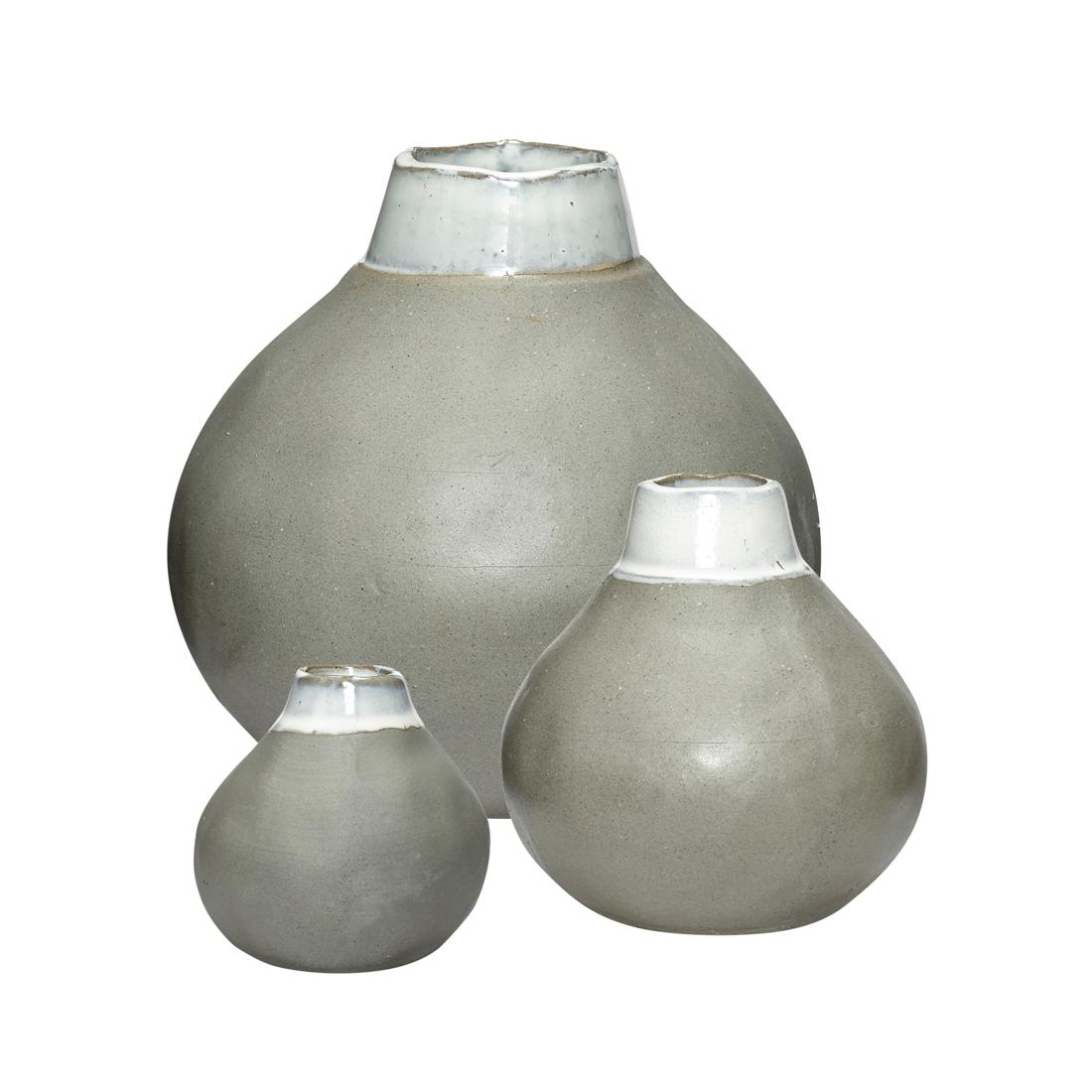 Set of 3 white grey ceramic vase danish design by hubsch reviewsmspy