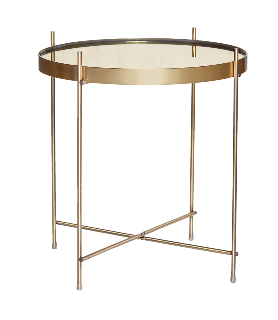 Round modern gold metal side table with mirror top by hubsch