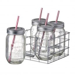 4-jam-glass-jars-with-straw-in-wire-metal-basket-holder-carrier-by-parlane